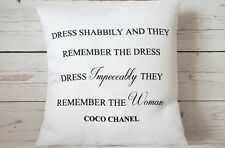 """Chanel Quote ~ Dress Impeccably.. - 16"""" cushion cover French shabby vintage chic"""