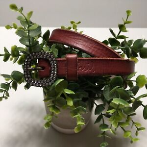 Fossil Women Red Rust Rhinestone buckle Size Large Thin Casual Belt