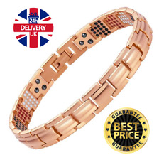Ladies ROSE GOLD TITANIUM Magnetic Bracelet Bio Energy 4in1 Chain Link Wristband