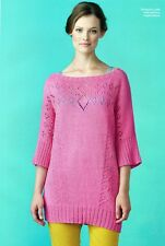 """~ Knitting Pattern For Lady's Beautiful Wide Neck Lacy Tunic ~ 32"""" ~ 46"""" Bust ~"""