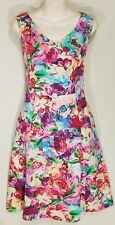 Size 8 DIANA FERRARI sleeveless V neck floral cotton dress red pink blue midi