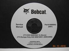 Bobcat 773 Skid Steer Loader Service Manual Part # 6900092 on CD