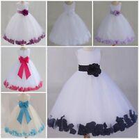 Girls Christening Bridesmaid Dresses Dress Petal Bow Tutu Chiffon Flower Petals