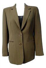 06955 Liz Claiborne Army Green Pinstripe Womens Coat Blazer Jacket Petite 10 P