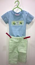 Baby Boy Blue Smock Easter Set 2pc 6M Bunny Shirt w striped matching pant BB6