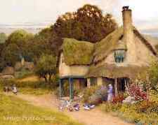 Old English Country Cottage Art Feeding Birds - Arthur Strachan  8x10 Print 0451
