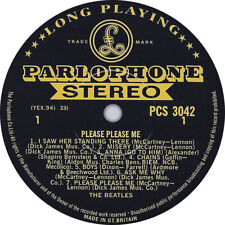 The Beatles. Please Please Me. Gold & Black. Repro record label sticker. 99mm