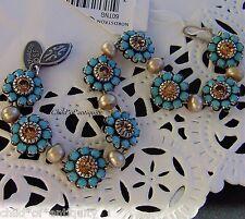 Liz Palacios PEARL G.Topaz Turquoise Swarovski Crystal VICTORIAN Silver Bracelet
