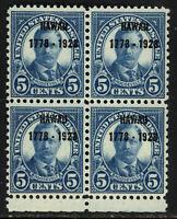 SCOTT 648 1928 5 CENT HAWAII SESQUICENTENNIAL ISSUE BLK OF 4 MNH OG VF CAT $86