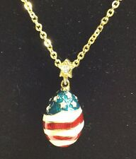 Joan River Gold Tone Chain Red/white/blue And Stones Flag Pendent (c56)