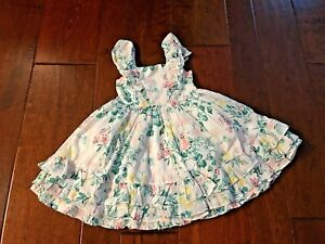 NEW Boutique Janie and Jack Girls Sz 3 Years White Floral Spring Summer Dress