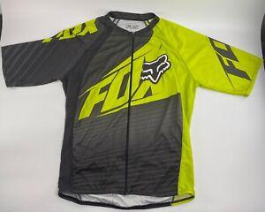 FOX Full Zip Riding Shirt Cycling Bike Biking Jersey Black/Yellow/White Large