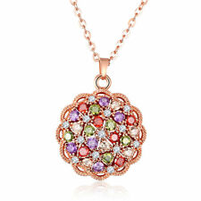 Necklaces Morganite Garnet Gems Pendants Summer Holiday Gift Rose Gold Plating