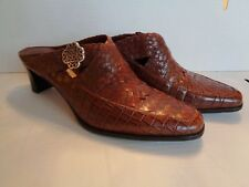 Brighton TWAIN Brown Leather Mules Heels Shoes 8M - New Without Box