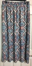 Laundry by Shelli Segal Sz L Blue Red Ivory Geometric Lined Maxi Long Skirt