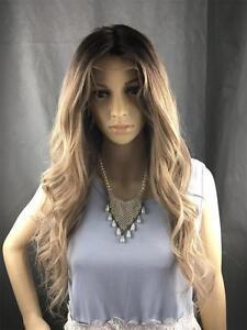 Layered Nature Long Dark Root to light brown Loose Wavy 100% Human Hair Lace Wig