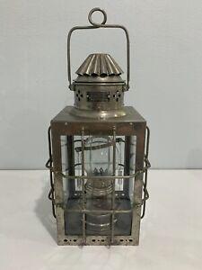 Vintage Nippon Sento Co. Japanese Metal Glass Nautical Maritime Oil Lamp Lantern
