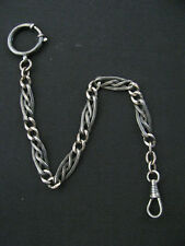 ANTIQUE SOLID SILVER NIELLO GOLD PLATE POCKET WATCH CHAIN