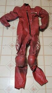 ThriftCHI ~ Vintage Red Leather Racing Suit Dainese Speed Leather size 46