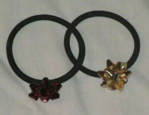 Holiday Bow Girls Hair Accessory Elastic Gymboree ? Crazy 8 ? Red Gold