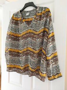 Ladies Sheer Long Sleeved Top Vero Moda Size XL Plus Size Leopard Print Striped