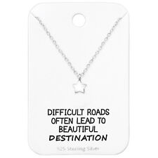 925 Sterling Silver Star Pendant Necklace with Motivational Quote Card