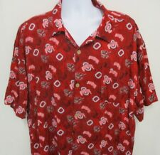 P2 Hawaiian/Camp Style Shirt, S/S, 2XL, Red Ohio State Buckeyes with Brutus