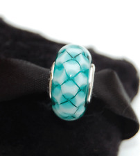 "Genuine Pandora Murano Glass Bead ""Teal Lattice"" Faceted - 791625 - retired"
