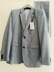 New with Tags Mens Preview 2 piece tailored Chambray Suit Jacket 36 Trousers 30