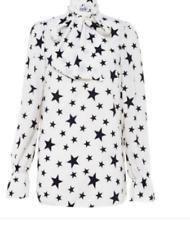 c9ed94827eed Pussy Bow Tie V Neck Star print Blouse Shirt Top White Black Red John Zack