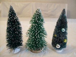 """3 - 9"""" TALL FLOCKED CHRISTMAS BOTTLE BRUSH TREES"""