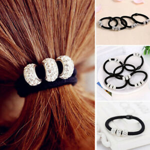 1/5/10PCS Hot Hair Ring Alloy Diamond Korean Version Women Ponytail Ropes Black