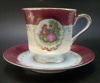 Tea Cup Saucer Set Bone China Courting Couple Burgundy Iridescent