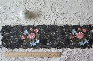"""Vintage 1940s Swiss Black & Pink Rose """"Pop Up"""" Embroidered Applique"""