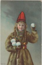 BEAUTIFUL GIRL Pigtails FUR COAT Snowballs Vintage Colour u/b PC Russian? c1910
