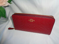 COACH F54805 SIGNATURE DEBOSSED PATENT LEATHER ACCORDIAN ZIP CLUTCH CHERRY WALLE