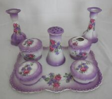 Antique 12 pc Czecho-Slovakia Victoria Ladies Dresser Vanity Set Violets & Roses