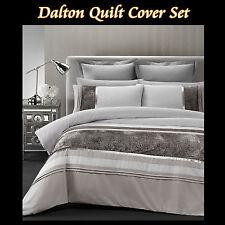 New DALTON Olive Linen Silver Soft Microfibre DOUBLE Quilt Doona Duvet Cover Set