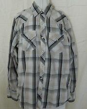 GPH Supply USA Men's Long Sleeve Shirt Size M Medium Cotton WhiteBlue Pearl Snap