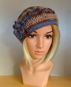 Ausgefallene Häkelmütze Barett blau braun taupe Baskenmütze Baumwolle Baske Hut