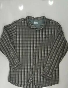 Columbia Men's Brown Plaid Omni Wick L/S Button Up Fishing Shirt Vented Size XL