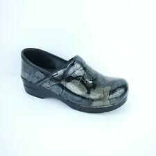 DANSKO Pewter Metallic Silver Black Floral Patent Leather Pro Clogs Womens 40