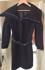 Purificacion Garcia womens black miltary Long Coat . Size 42 . Made in Spain .