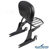 Black Adjustable Sissy Bar Passenger Backrest Luggage Rack Fits Harley Softail