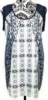 CAbi #253 Womens Mixed Print Blue Sleeveless Tunic Medium Lightweight Relaxed