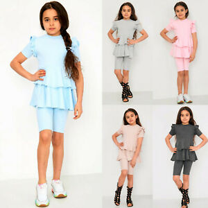 Girl's Kid's Ruffle Frill Layered Dress Shorts Two Piece Outfit Co ord set New