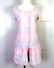 vtg 80s Oak Hill Pastel Madras Plaid 2 Pc Top Shirt & High Waist Shorts Set L