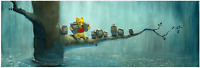 Disney Fine Art Limited Edition Canvas Waiting Out the Rain-Pooh-Rob Kaz