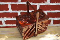 VINTAGE STYLE SMALL WOODEN  SEWING  BOX HAND CRAFTED IN BROWN COLOR