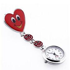 Red Heart Shape Quartz Movement Nurse Brooch Fob Tunic Pocket Watch  Small Face